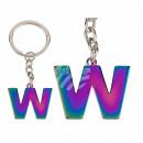 Porte-clés en métal, lettre arc en ciel W
