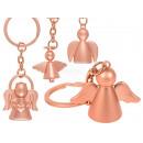 Pink metal keyring, angel, about 3.5 cm