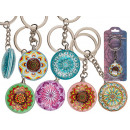 Double-sided metal keyring, mandala
