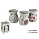 groothandel Geurlampen: Keramische aroma  lamp met lavendel en roos decorat