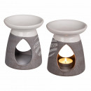 groothandel Geurlampen: Wit / grijs  keramische aroma lamp, 12,5 x 11 cm