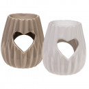 wholesale Fragrance Lamps: Ceramic aroma lamp, heart, about 10 x 8.5 cm, 2-fa