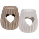 Ceramic aroma lamp, heart, about 10 x 8.5 cm, 2-fa