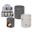 wholesale Fragrance Lamps: Ceramic aroma lamp, Home Sweet Home, approx. 8 x 9