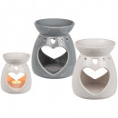 wholesale Fragrance Lamps: Ceramic aroma lamp, heart, ca. 10 x 13 cm, 2-color