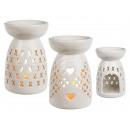 Blanc lampe aromatique en céramique avec coeur déc