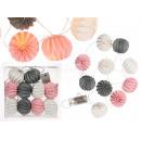 groothandel Lichtketting: Wit / grijs / roze  papieren lampen met 10 w