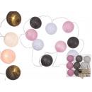 grossiste Chaines de lumieres: rotin blanc / gris  / rose boule lumières avec