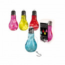 wholesale Drinking Glasses: Colored glass bulb with 10 white LED & Metalla