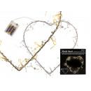 wholesale Batteries & Accumulators: Metal heart with  20 warm white LED, about 30 cm, f