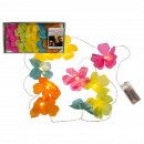 Light chain with colorful flowers & 10 warm wh