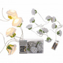 White fairy lights, mini roses, with 10 LEDs