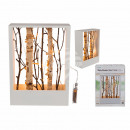 White wooden decoration frame with branches &