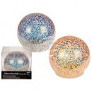 Deko-Glaskugel mit Glitter und warmweißen LED, ca.
