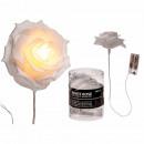 White plastic rose with 5 warm white LEDs