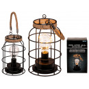Metal lantern with light bulb & 10 warm white