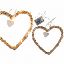 Rattan heart with white ribbon, 20 LED