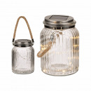 Decorative jar with jute band, solar cell & 10