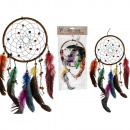 Colorful fabric dream catcher with feathers &