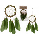 Green cloth dream catcher with feathers & wood