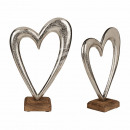 Metal heart on wooden stand, approx. 28 cm