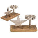 Silver-colored metal candle holder with star