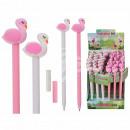wholesale Decoration: Plastic pen, flamingo, about 18 cm