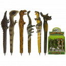 wholesale Gifts & Stationery: Polyresin pens, dinosaurs, about 17 cm,