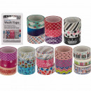 Deco tape, Washi, about 15 mm x 3 m, 8-sor