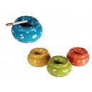 Großhandel Aschenbecher:-Keramik  Sturmaschenbecher,  Dots, ca. 11 x 6 ...