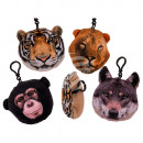 Plush Wild Animals with Snap Hooks & Sound (in