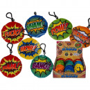Plush slogan pendant with sound and snap hook