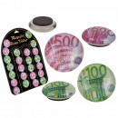 Glass magnet, € Notes, ca. 3,5 cm, 2 ass., 36 pcs.