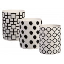 White ceramic tealight holder with black pattern