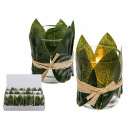 Glass tealight holder with leaves deco & Bast-