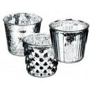 szklane świeczniki srebrne, antyczne Finish,