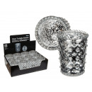 Silver-colored glass candle holders, antique Finis