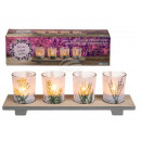 Wood tealight holder with floral print & 4 gla