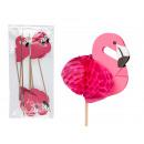 Hout picker met papier Flamingo, H: 18 cm, 8 S