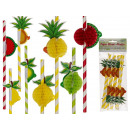 Paper Straw, Fruits, L: 18 cm, 4-fold sortie
