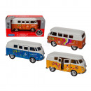 Model car with pull back, VW T1 bus 1963 - Flower