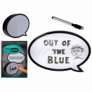 Illuminated plastic speech bubble with pen to B