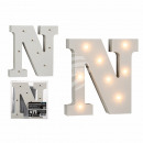 Illuminated wooden letter N, with 8 LED, about 16