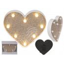 Plastic Heart, Golden Glitter, with 8 LED