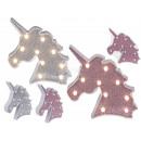 Plastic unicorn head, glitter, with 10 LEDs