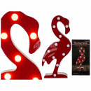 Wooden lamp, flamingo, with 12 LED, approx 42 cm,
