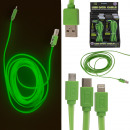 Green USB data cable, glows in the dark
