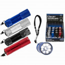 Metal flashlight with 9 LED, about 8.5 cm, 4-farbi