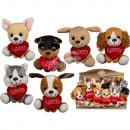Großhandel Spielwaren: Sitzende Plüsch-Hunde mit Herz, ca. 14 cm
