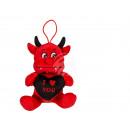 Plush Devil with black heart, I love you, ca.